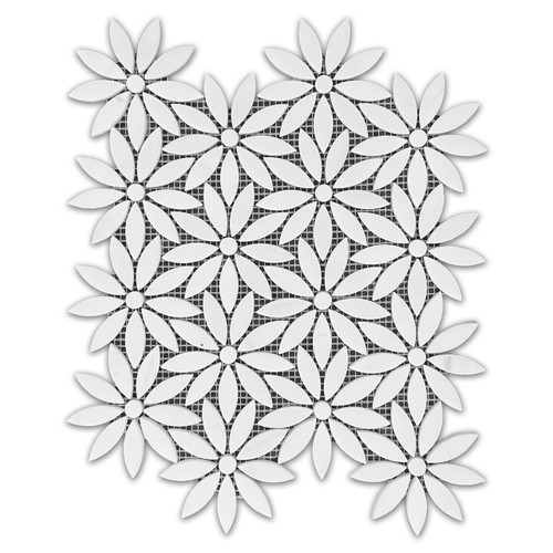 Bianco Dolomite With Bianco Dolomite Center Accent Daisy Flower Waterjet Mosaic Tile Polished