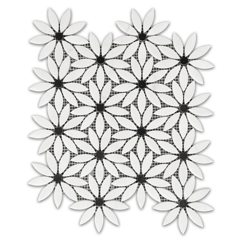 Bianco Dolomite With Nero Marquina Black Center Accent Daisy Flower Waterjet Mosaic Tile Honed