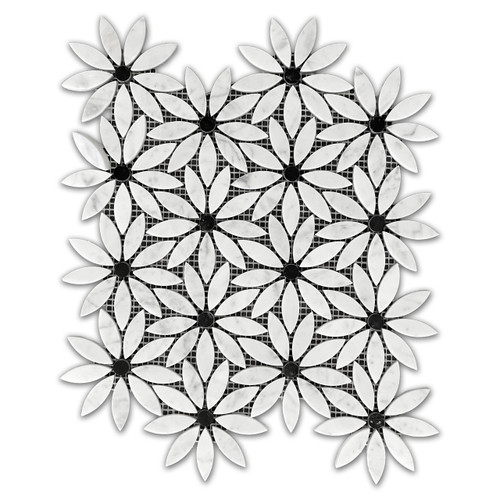 Carrara White Marble With Nero Marquina Black Center Accent Daisy Flower Waterjet Mosaic Tile Honed