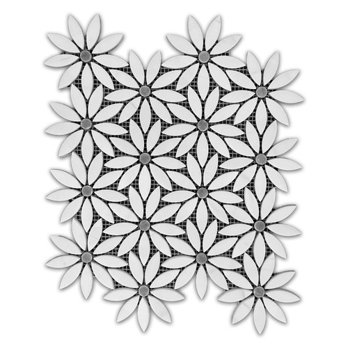 Bianco Dolomite With Bardiglio Gray Center Accent Daisy Flower Waterjet Mosaic Tile Polished