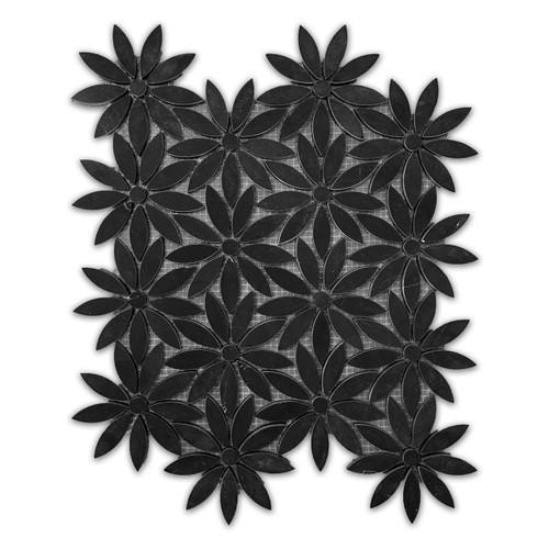 Nero Marquina Black With Nero Marquina Black Center Accent Daisy Flower Waterjet Mosaic Tile Honed