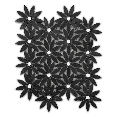 Nero Marquina Black With Bianco Dolomite Center Accent Daisy Flower Waterjet Mosaic Tile Honed