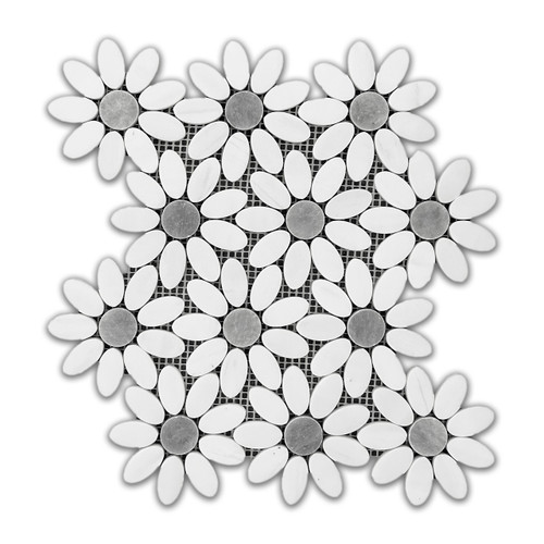 Bianco Dolomite Marble With Bardiglio Gray Center Accent Flower Waterjet Mosaic Tile Polished