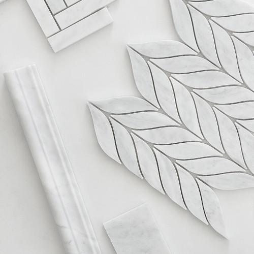 Honed Carrara White Italian Marble Leaf Shape Mosaic Tile