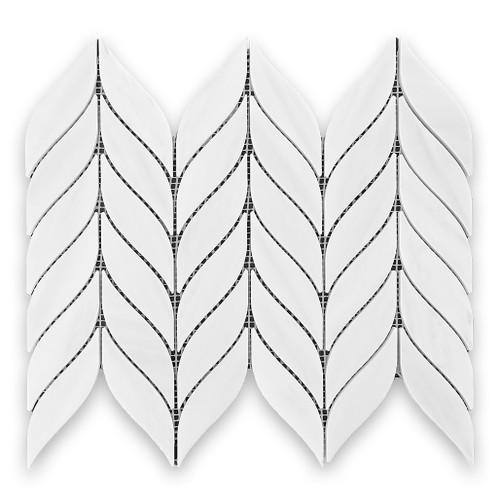Bianco Dolomite Marble Leaf Shape Mosaic Tile Honed