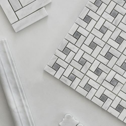 Polished Carrara White Italian Marble Target Pinwheel Mosaic Tile with Bardiglio Gray Dots