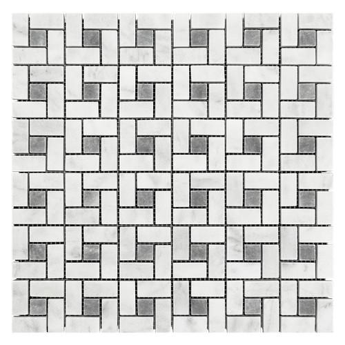 Carrara White Italian Marble Target Pinwheel Mosaic Tile with Bardiglio Gray Dots Honed