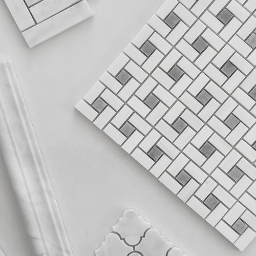 Polished Bianco Dolomite Marble Target Pinwheel Mosaic Tile with Bardiglio Gray Dots