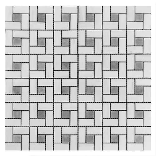 Bianco Dolomite Marble Target Pinwheel Mosaic Tile with Bardiglio Gray Dots Honed