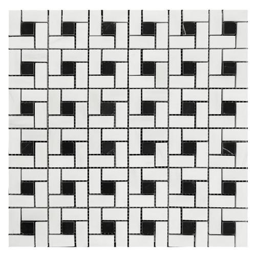 Bianco Dolomite Marble Target Pinwheel Mosaic Tile with Nero Marquina Black Dots Honed
