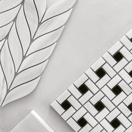 Honed Bianco Dolomite Marble Target Pinwheel Mosaic Tile with Nero Marquina Black Dots