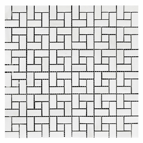 Bianco Dolomite Marble Target Pinwheel Mosaic Tile with Bianco Dolomite Dots Polished