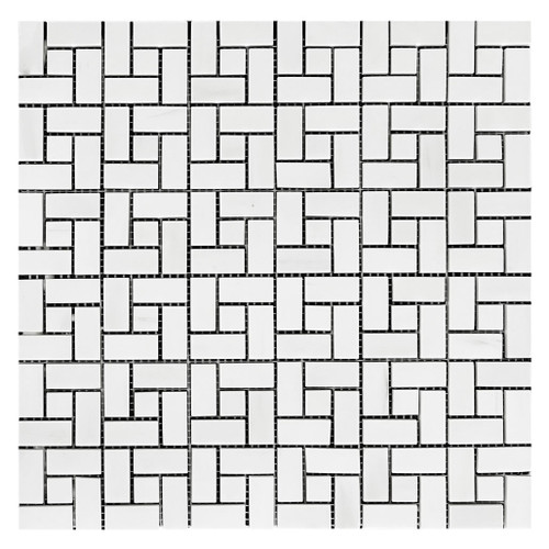 Bianco Dolomite Marble Target Pinwheel Mosaic Tile with Bianco Dolomite Dots Honed