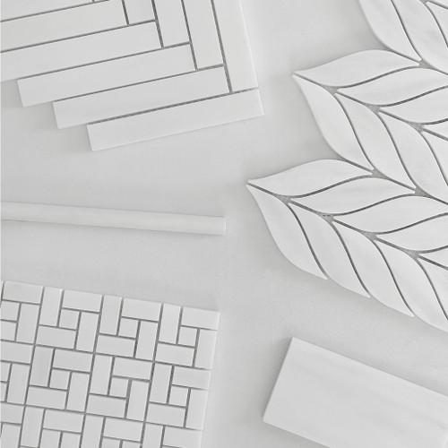 Honed Bianco Dolomite Marble Target Pinwheel Mosaic Tile with Bianco Dolomite Dots