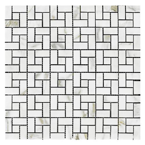 Calacatta Gold Marble Target Pinwheel Mosaic Tile with Calacatta Gold Dots Honed