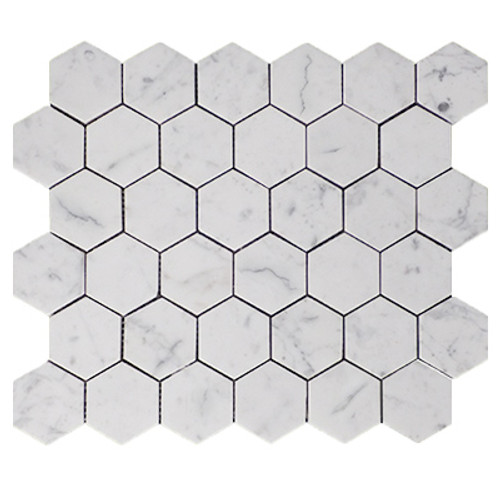 "Italian White Carrera Marble Bianco Carrara 2"" Hexagon Mosaic Tile Polished"
