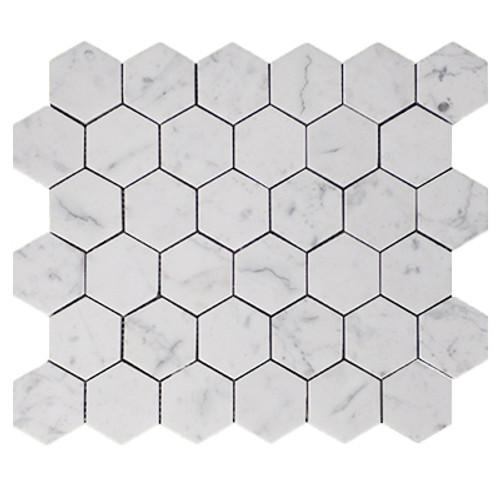 "Italian White Carrera Marble Bianco Carrara 2"" Hexagon Mosaic Tile Polished"
