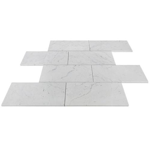 Italian White Carrera Marble Bianco Carrara 6x12 Marble Subway Tile Honed