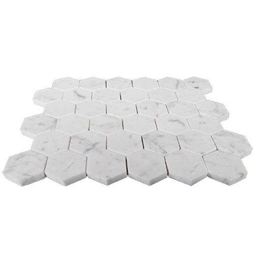 "Italian Carrara White Marble 2"" Hexagon Mosaic Tile Honed"
