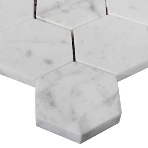 "Italian White Carrera Marble Bianco Carrara 2"" Hexagon Mosaic Tile Honed"
