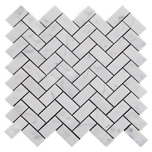 "Italian White Carrera Marble Bianco Carrara 1""x2"" Herringbone Mosaic Tile Polished"