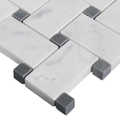 Italian Carrara White Marble Basketweave Mosaic Tile with Bardiglio Gray Dots Polished