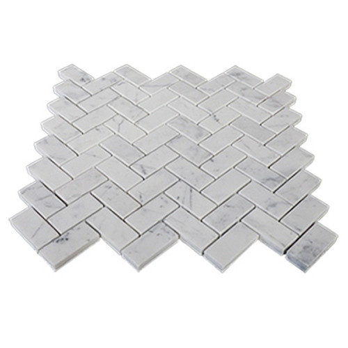 "Italian Carrara White Marble 1"" x 2"" Herringbone Mosaic Tile Honed"