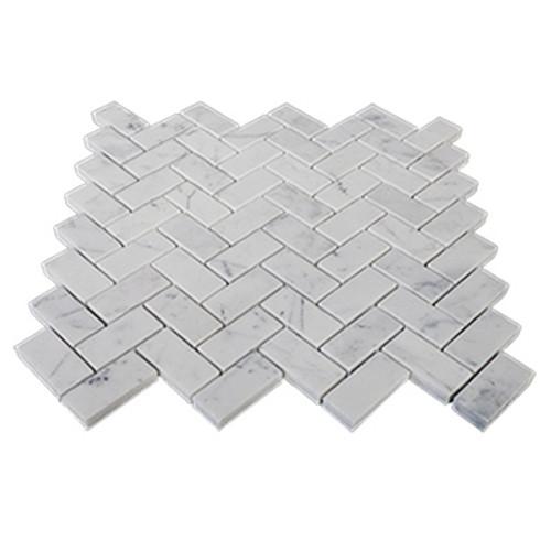 "Carrara White Italian Marble 1"" x 2"" Herringbone Mosaic Tile Honed"