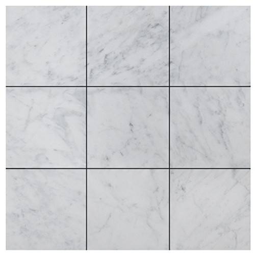 Italian White Carrera Marble Bianco Carrara 4x4 Marble Tile Honed