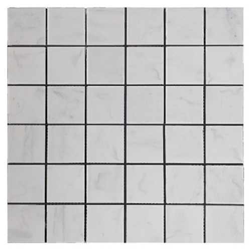 Italian White Carrera Marble Bianco Carrara 2x2 Mosaic Tile Honed