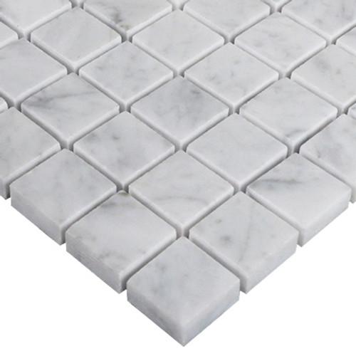Italian White Carrera Marble Bianco Carrara 1x1 Mosaic Tile Honed