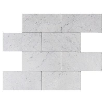 6 X 12 Carrara White Marble Subway Tile Honed