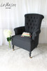DEEP BUTTON CHAIR WITH WHEELS | Black