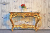 GOLD WALL TABLE WITH MARBLE TOP