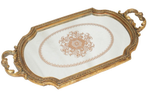 SWIRL OVAL VINTAGE TRAY GOLD