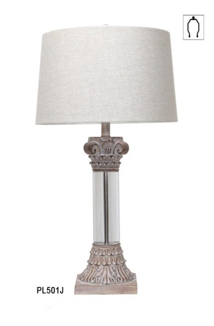 CRYSTAL BALL TABLELAMP W SHADE