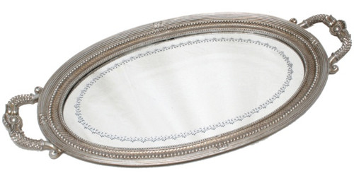 PEWTER BEADED OVAL VINTAGE TRAY LRG