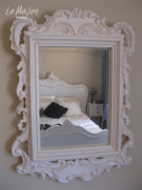 FRENCH ANTIQUE CARVED MIRROR | Antique White