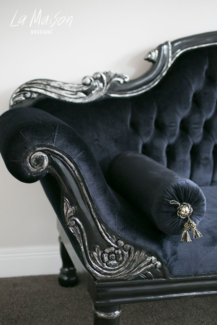 COLONIAL DOUBLE ENDED CHAISE LONGUE | Black & Silver