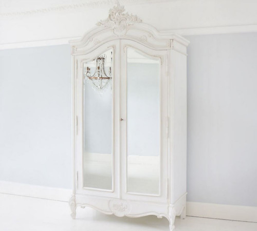 PROVENCAL TWO DOOR ARMOIRE WITH MIRRORS | Antique White