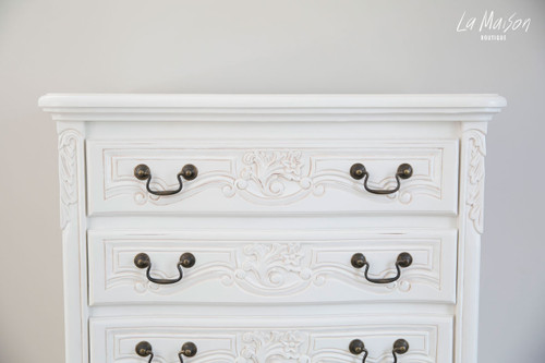 ROCOCO 7 DRAWER TALLBOY | Antique White