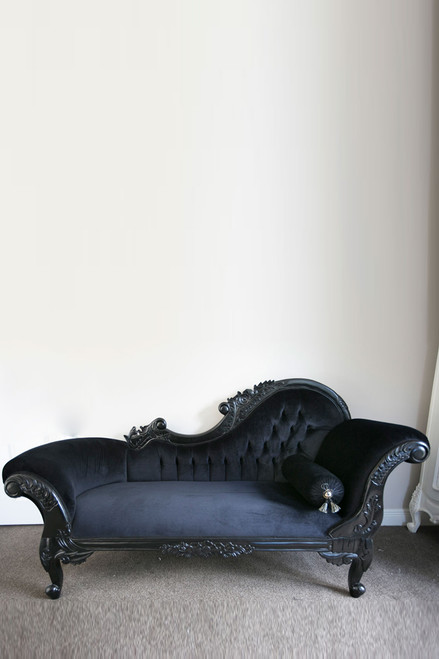 FLOWER CARVED CHAISE LONGUE | Black
