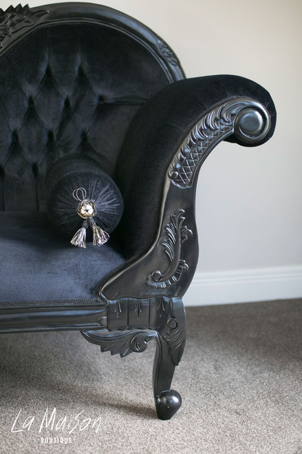 Chaise longue with matching bolster cushion