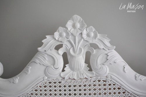 IN STOCK NOW: Rattan Louis XV bed - Queen size