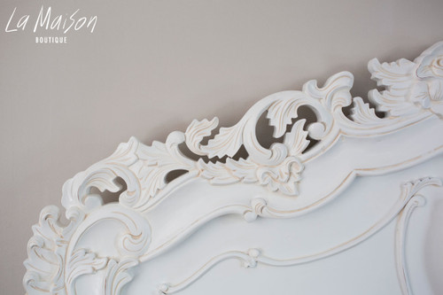 FRENCH CARVED HEADBOARD | Antique White