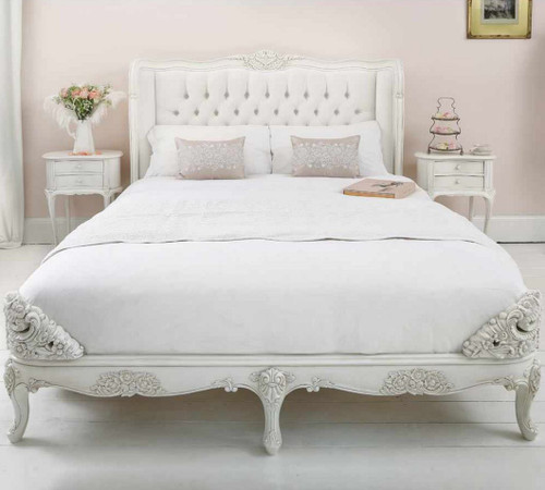 French Carved Padded Bed - Queen size | White