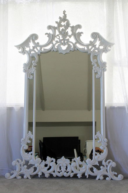 CARVED ORNATE WALL MIRROR | White