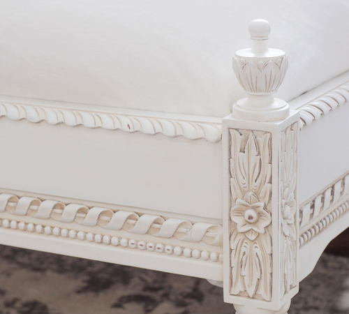 ANTONIETTE RATTAN BED LOW END | Distressed White