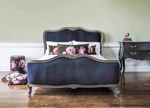 DELPHINE FRENCH UPHOLSTERED ROUND END BED