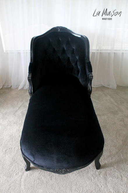 HIGH BACK SINGLE ENDED CHAISE LONGUE | Black